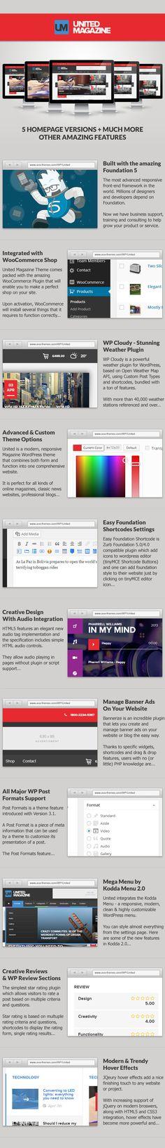 WordPress - United - Modern Responsive Magazine & Blog Theme | ThemeForest Amazing Websites, Bootstrap Template, Ui Design, Wordpress Theme, Ava, The Unit, Magazine, Modern, Tips