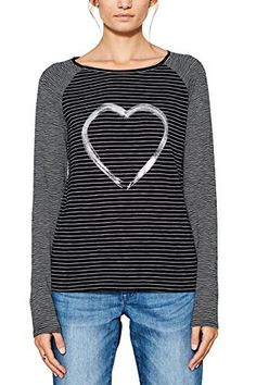 edc by ESPRIT Women's 087cc1k041 Long Sleeve Top, Black (Black 001), Medium. UK t shirts. Women t shirts. Girl t shirts. Women fashion. Women style. UK style. Wife gift. Girlfriend gift. Gifts for her. Gift sister. It's an Amazon affiliate link.