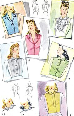 1940s Dickey Pattern Simplicity 4154 Womens Dickey with Collars and Lace Womens Vintage Sewing Pattern Bust 36 - 38 Uncut