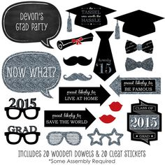 20 Silver Graduation Photo Booth Props 2015 by BigDotOfHappiness