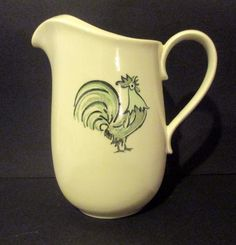 Taylor Smith & Taylor Summer Morn Aqua Rooster Water Pitcher 1960's Retro #TaylorSmithTaylor