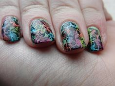 Rainbow Shatter nails.