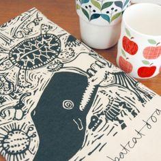 Cool lino block print tea towel - whale