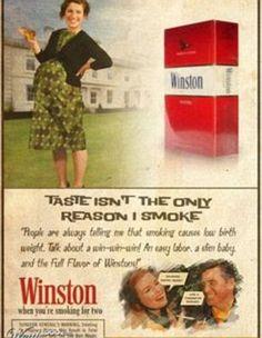 """""""El sabor no es la única razón por la que los fumo"""" La publicidad de la década de 1950 muestra actitudes perturbadoras hacia el cuidado pre y post natal"""