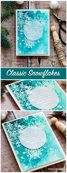 Classic snowflakes card by Debby Hughes - heat embossed snowflakes with Gansai Tambi watercolor. Find out more about this card by clicking on the following link: http://limedoodledesign.com/2016/12/classic-snowflakes-january-card-kit/