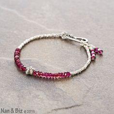 Dainty garnet bracelet, Karen Hill Tribe silver beads, rhodolite garnet stackable beaded bracelet, Hill Tribe jewelry, gift for woman, teen by NanandBiz