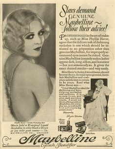A Maybelline ad circa 1920s showing how to get the flapper look.