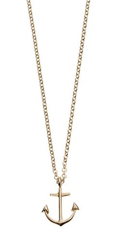 """Anchor Necklace: 10k gold anchor pendant on a 16"""" chain with a spring lock closure."""