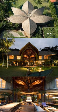 The Leaf House, a tropical beach house designed by Mareines + Patalano Arquitetura in Angra dos Reis, Rio de Janeiro, Brazil. The Leaf House was inspired by Brazil's Indian architecture.The roof acts as a big leaf it protects from the hot sun all enclosed spaces of the house,  verandas & in-between open spaces.    Rain water is harvested from the roof for re-use. With its natural finishes, organic aesthetics and richness of details, the house is in harmony with the exuberant Brazilian…