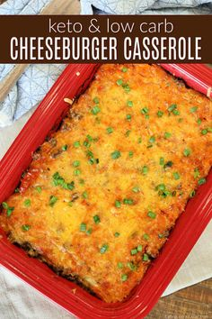 The entire family will love this Low Carb Cheeseburger Casserole Recipe. Plus it's easy! Everyone will beg for more of Keto Cheeseburger Casserole Recipe. #cheeseburgercasserole #keto