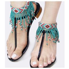 Bohemian seed beaded fringe anklet (pair) Cute accessory to add to sandals, one pair of seeded bead fringe anklets OS97504 Accessories Hosiery & Socks