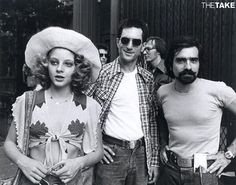 Behind the Scenes: Robert De Niro Jodie Foster Martin Scorsese and Martin Scorsese's facial hair on the set of #TaxiDriver #BTS