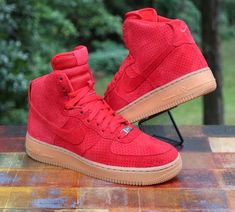 514cf61b50a102 Nike Women s Air Force 1 High Suede 749266-601 Red Gum Size 9  Nike   BasketballShoes