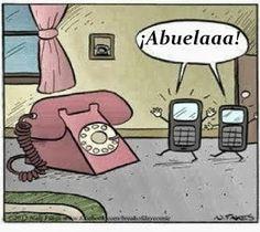 Frases, chistes, anécdotas, reflexiones, Amor y mucho más.: Chiste gráfico. La abuela de los telefonos celulares. #learn #spanish