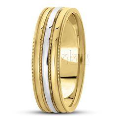 14K Gold Two Tone Shiny Polished Carved Design Wedding Band