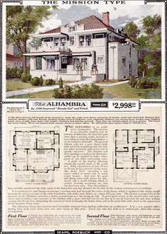 Searching for the house plans for your American Foursquare style home? They just might be part of this group of Sears and Aladdin catalog favorites.: Sears Catalog Modern Home No. The Alhambra The Sims, Sims 4, The Plan, How To Plan, Mission Style Homes, Spanish Style Homes, Spanish Revival, Spanish Colonial, Square House Plans