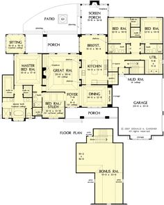 Just about perfect layout!  like that bonus room is above garage area and on opposite side of house from master