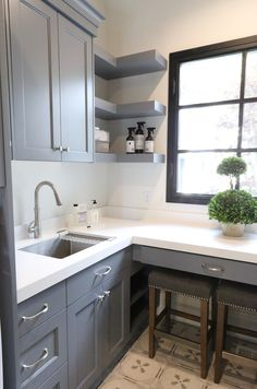 Cabinet Color is Benjamin Moore Trout Gray – Laundry Room Laundry Room Cabinets, Grey Kitchen Cabinets, Painting Kitchen Cabinets, Grey Painted Kitchen, Painted Cupboards, Modern Cabinets, Bathroom Cabinets, White Cabinets, Kitchen Backsplash