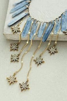 blue stone and star pendants necklace