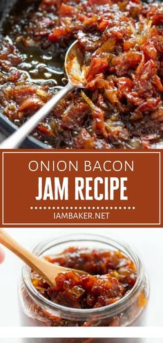 Onion Bacon Jam might be the condiment you have been missing! Loaded with caramelized onions and the saltiness of bacon, this easy recipe is definitely worth a try on Father's Day. Spread it on toast and serve with an egg for a delicious Father's Day breakfast idea! Bacon Recipes, Jam Recipes, Meatloaf Recipes, Canning Recipes, Sauce Recipes, Dinner Recipes, Healthy Recipes, Bacon Jam Canning Recipe, Drink Recipes