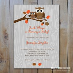 Fall Baby Shower Invitation / Owl Baby Shower by fancyshmancynotes, $15.00