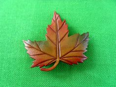 Vintage Leather Maple Leaf Brooch / Pin Item by LaylaBaylaJewelry