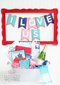 Week-long Anniversary Countdown printable banner- cute anniversary idea! Each letter is actually a pocket with a hidden message or activity inside to do together. TOTALLY doing this on our next anniversary.