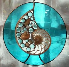 """10 """" Round with Nautilus Section Modern Stained Glass, Making Stained Glass, Faux Stained Glass, Stained Glass Designs, Stained Glass Panels, Stained Glass Projects, Mosaic Art, Mosaic Glass, Ancient Egyptian Art"""
