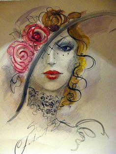 Female Elegance in drawings by Fatima Tomaeva Gabellini - Beauty will save Painting People, Woman Painting, Art And Illustration, Images D'art, Graffiti, Art Visage, Pencil Art Drawings, Beautiful Drawings, Portrait Art