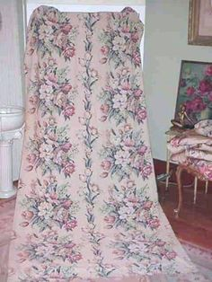 Vintage Barkcloth Cabbage Roses Fabric Panel by SimplyCottageChic