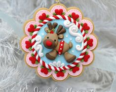 Handcrafted Polymer Clay Reindeer Ornament by Kay Miller. Polymer Clay Owl, Polymer Clay Ornaments, Polymer Clay Projects, Polymer Clay Creations, Clay Crafts, Clay Christmas Decorations, Polymer Clay Christmas, Christmas Ornaments, Reindeer Ornaments