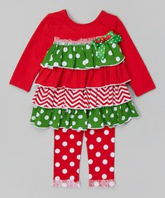 Loving this Red & Green Tiered Top & Leggings - Infant, Toddler & Girls on #zulily! #zulilyfinds