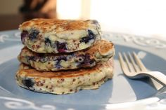 Blueberry Quinoa Pancakes. A yummy and complete protein meal sure to please your entire family!