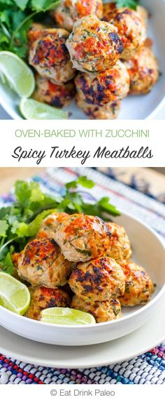 Baked Spicy Turkey Meatballs With Zucchini | http://eatdrinkpaleo.com.au/baked-spicy-turkey-meatballs-with-zucchini-recipe/