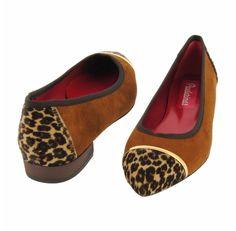 Bailarinas punta fina ante cuero con leopardo - Paula Alonso - Tienda online