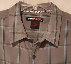 Tony Hawk  XL Plaid Button Front Short Sleeve Shirt Men's Size X-Large Gray #TonyHawk #ButtonFront #Everyday