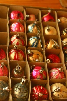 Antique Glass Ornaments - anyone remember these?  I have the ornaments like these from my childhood tree and use them every Christmas.