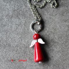 Herzschlüssel: Glasengel, lampwork, glass beads