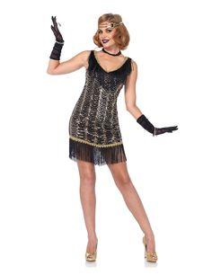 Disfraz de charlestón elegante mujer: Este disfraz de charlestón para mujer incluye vestido y diadema (collar, guantes, brazaletes y zapatos no incluidos).El vestido negro está formado por bandas de lentejuelas doradas por...