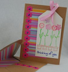 Pink Thinking of You Card Handmade Card by JemLouProductions, $3.00