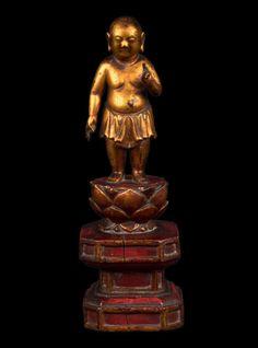 Sino-Tibetisch 18./19. Jh. A Sino Tibetan Giltwood Figure Of The Infant Buddha