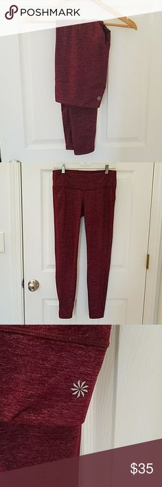 Athleta Chaturanga Tight Maroon/burgandy yoga tights. 47% nylon 34% polyester 19% lycra spandex. Worn a handful of times but I've lost weight and they are too big now. Athleta Pants Leggings