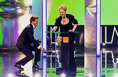 Meryl Streep's Cinderella moment with Colin Firth upon winning Best Actress at the 2012 BAFTA awards. (gif)