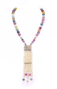 50's marchesite & pearl tassel necklace