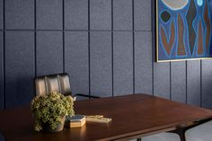 Acoustic self adhesive tiles in dark blue. EchoPanel Balance - made from 60% recycled PET plastic