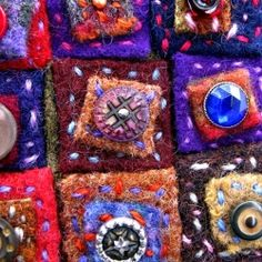 Sunset Dreams ~ recycled wool sweaters and antique buttons stitched into a meditation on squares.