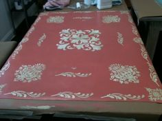 Hand painted floor cloth - rug, using Chalk Paint® decorative paint by Annie Sloan& Floor Lacquer Annie Sloan Chalk Paint Floor, Annie Sloan Paints, Using Chalk Paint, Chalk Paint Projects, Diy Projects, Best Flooring, Diy Flooring, Flooring Ideas, Painted Floor Cloths