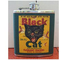 Black cat flask retro vintage spanish label 1950's rockabilly kitsch