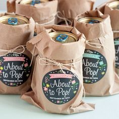"""""""About to Pop"""" soda favors + two more clever ideas that are perfect for throwing a baby shower."""