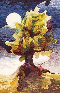 Crompton – Oak in Moonlight Michael Crompton – Oak in Moonlight. (Private Collection)Michael Crompton – Oak in Moonlight. Weaving Textiles, Weaving Art, Tapestry Weaving, Loom Weaving, Wall Tapestry, Hand Weaving, Contemporary Tapestries, Art Textile, Weaving Projects